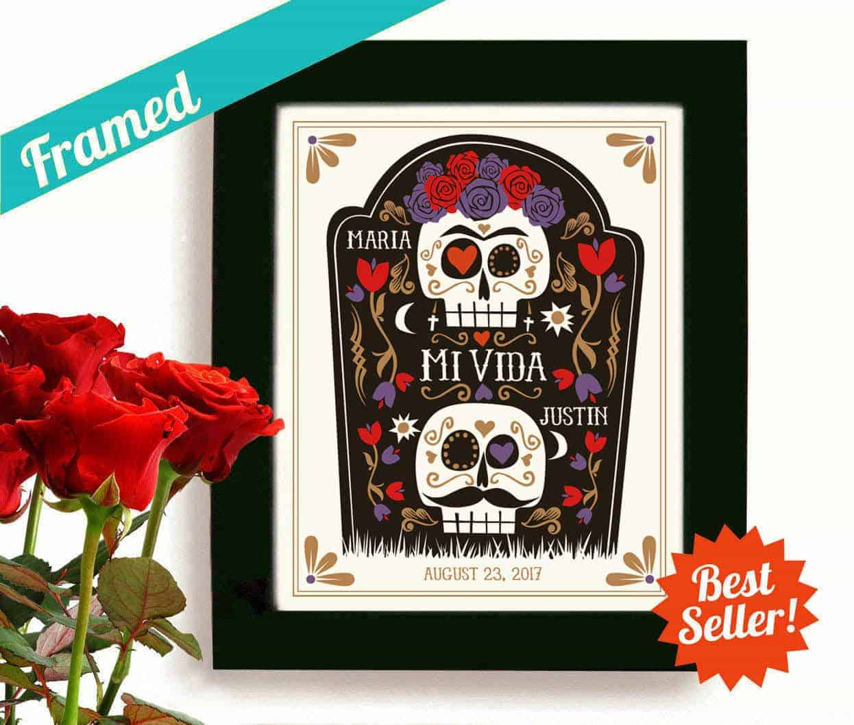Sugar Skull Mexican Folk Art Halloween Wedding Gift Day of the Dead