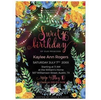 Fairy Lights & Flowers Sweet 16 Bohemian Birthday Invitations