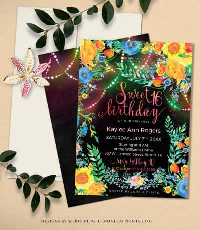 Floral Sweet 16 - Colorful Invitation - Bohemian Sweet 16