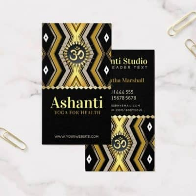 Ashanti Yoga Stylish Black Gold Business Card