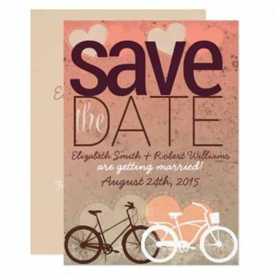 Bicycle Love heart Cute Save the Date Announce Card