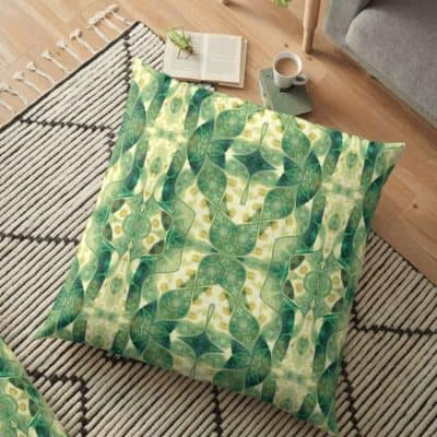 Green Forest Psychedelic Angels Floor Pillows by Webgrrl | Redbubble