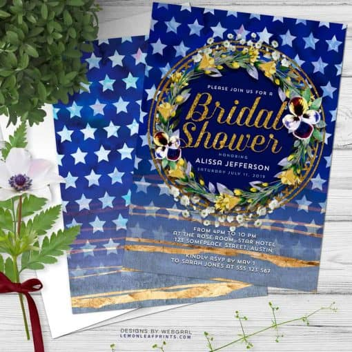 Stars & Stripes Floral Bridal Shower Invitation