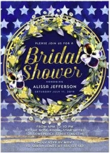 Stars & Stripes Floral Bridal Shower Invitation Cards