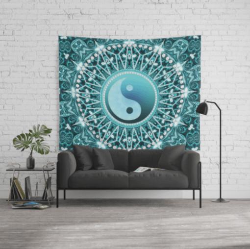 Tranquility Yin Yang Blue Aqua Mandala Wall Tapestry by Webgrrl