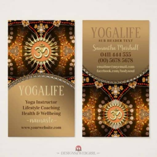 Yoga Life Caramel Gold OM New Age Business Card by onlinecards