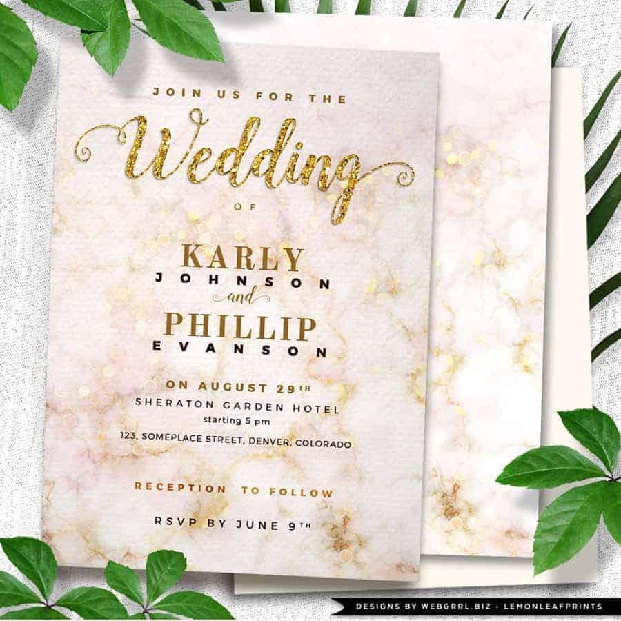 Gold Bokeh Marble Wedding Printed Invitations by Webgrrl