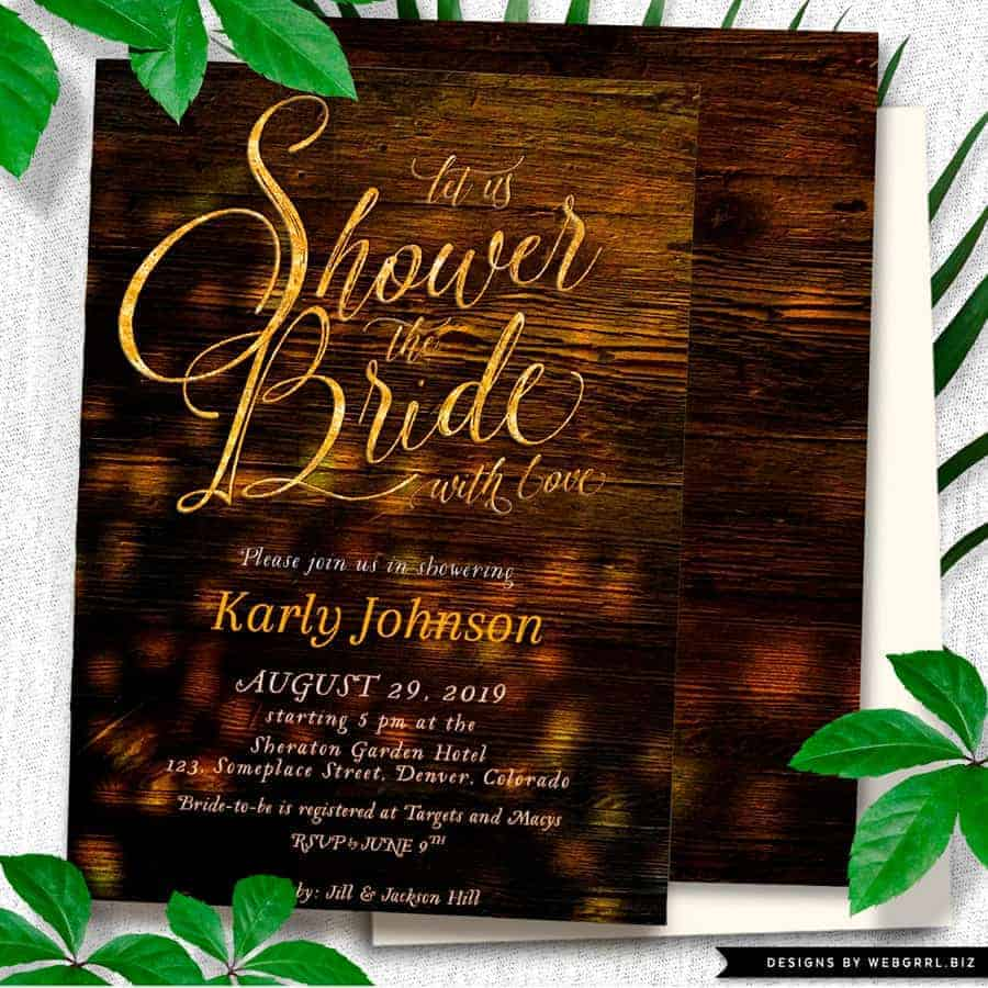 Rustic Nights Bridal Shower Party – Printed A7 Invitations by Webgrrl