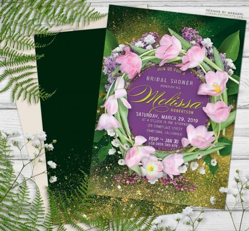 Tulips Floral Wreath Bridal Shower Invitation | Purple and Green