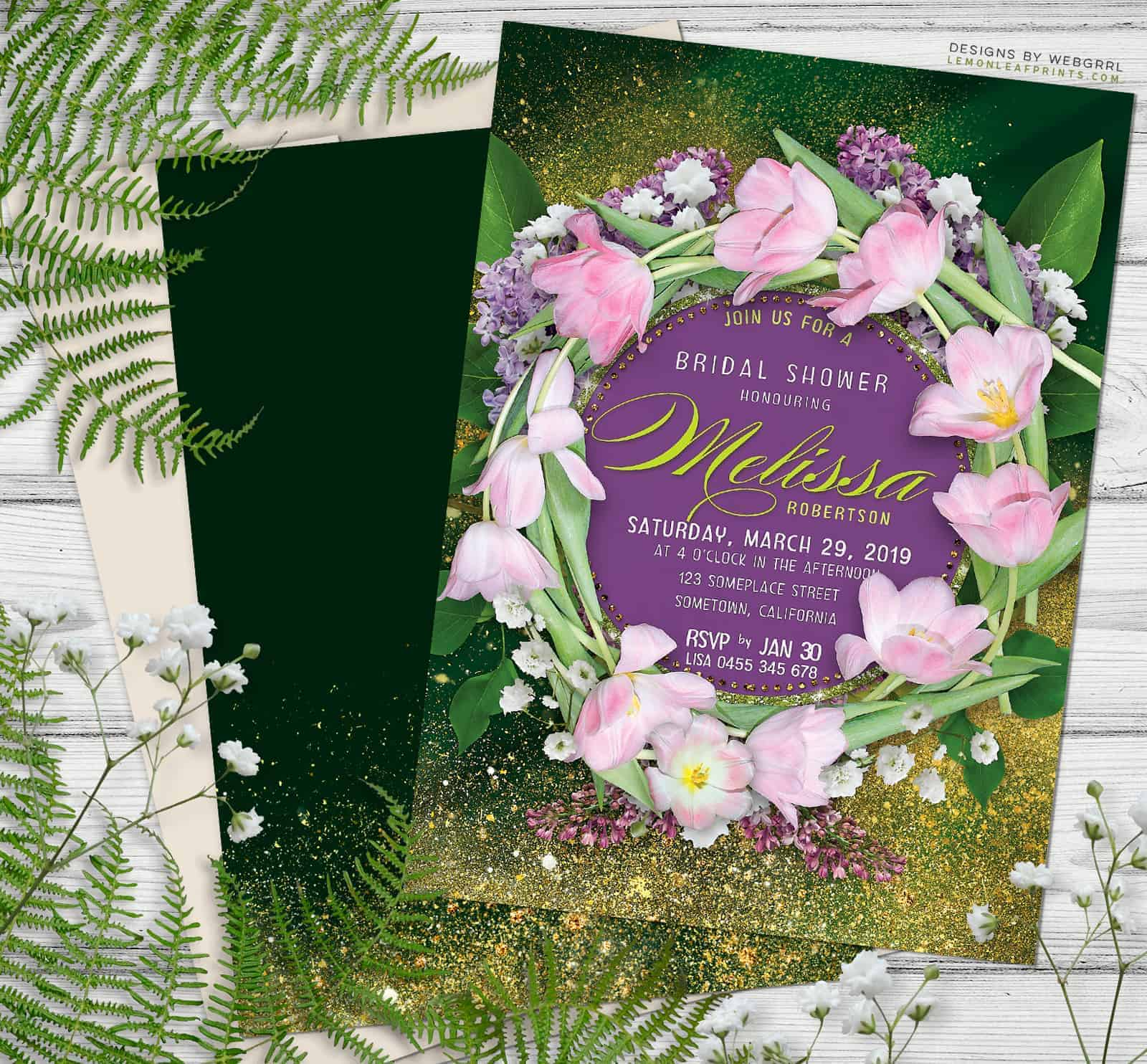 Floral Wreath Bridal Shower Invitation featuring pink tulips and Baby's Breath by Webgrrl