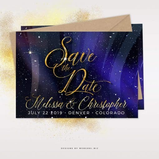 Winter Universe Save the Date | Snowflakes Save the Date 5x7 Cards