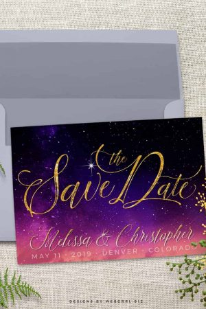 Purple Pink Starry Sky Save the Date Announce Card