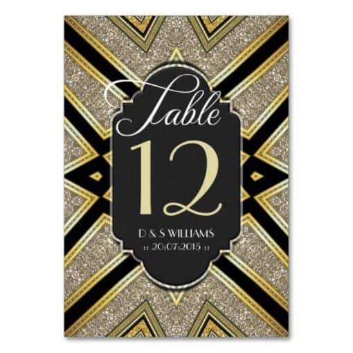 Art Deco Black and Gold Wedding Table Number Cards
