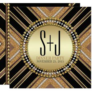 Art Deco Style Black Gold Dinner Party Customizable Invitation