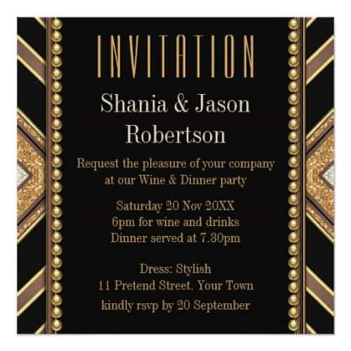 Art Deco Style Black Gold Dinner Party Customizable Invitation