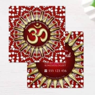 Gold OM Holistic Red White Mandala 2.5 Square business cards by onlinecards
