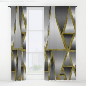 Window Curtains ♥ Gray Ombre Abstract Geometry by Webgrrl
