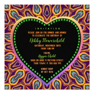 Orange Purple Hippie Child Bohemian Themed Party Card by Paperstation