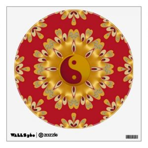 Red and Gold Yin Yang Feng Shui Fire Mandala Wall Sticker by webgrrl