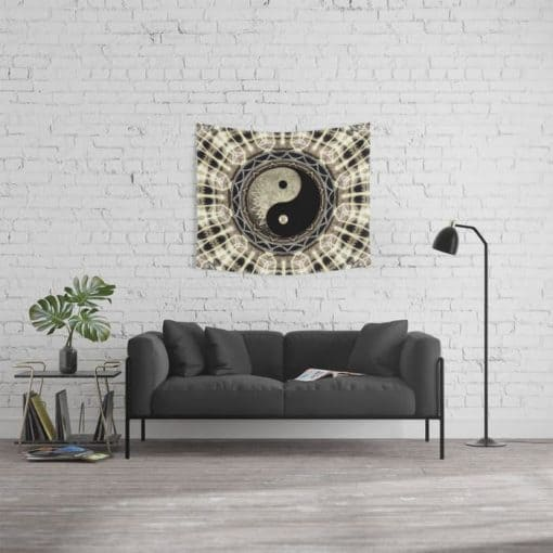 YIN YANG GEOMETRY MANDALA V1 Wall Tapestry (small)
