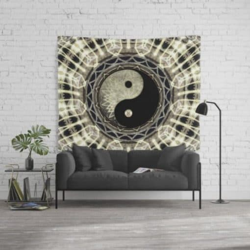 YIN YANG GEOMETRY MANDALA V1 Wall Tapestry (large)