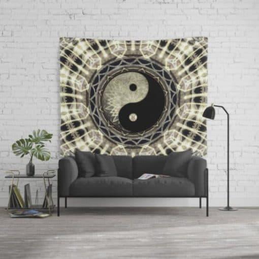 YIN YANG GEOMETRY MANDALA V1 Wall Tapestry (large)