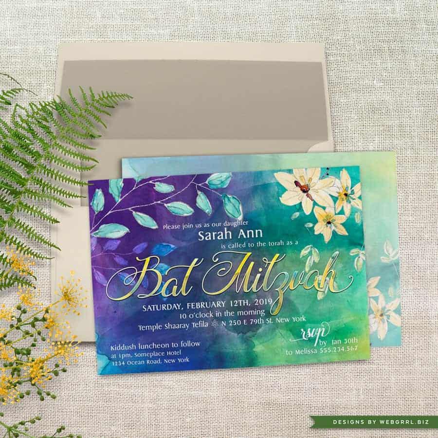 Blue and Green Floral Watercolor Bat Mitzvah Printed Invitations by Webgrrl