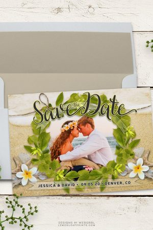 Frangipani Beach Save the Date Photo template | Frangipani Wedding