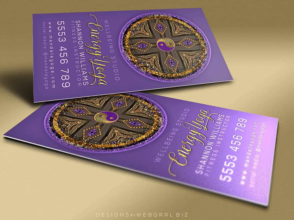 Yin Yang Gold Mandala • Purple Business Card Template