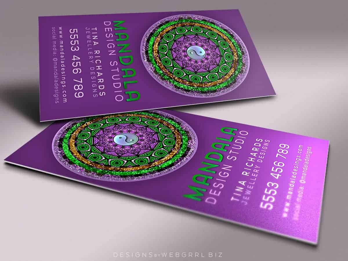 Purple Green Mandala • Business Card template