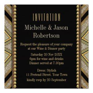 Art Deco Style Taupe Gold Dinner Party Invitation (back) • webgrrl.biz