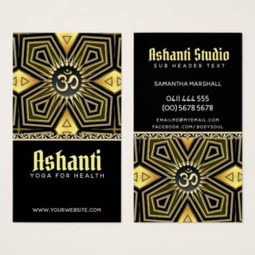 Ashanti Yoga Black Gold Deco Business Card by onlinecards
