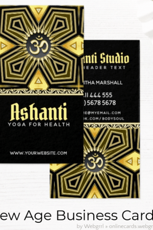 Ashanti Yoga Black Gold Deco Business Card by Webgrrl - onlinecards