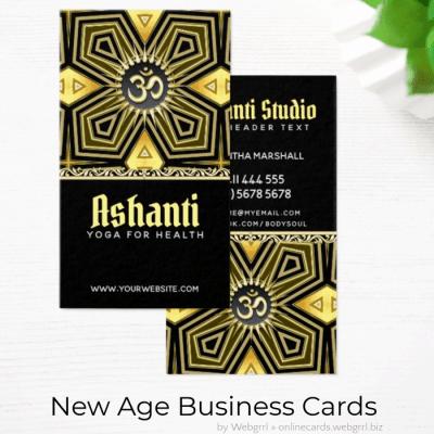 Ashanti Yoga Black Gold Deco Business Card by Webgrrl - onlinecards