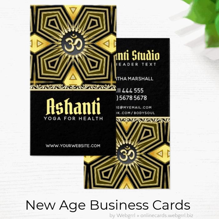 Ashanti Gold Black Art Deco Yoga Business Cards | Zazzle