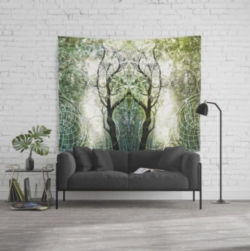 Bamboo Forest Geometry Fabric Banners / Wall Tapestry