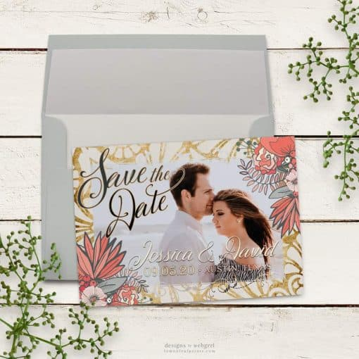 Gold and Coral Floral Save the Date Card with Your Photo
