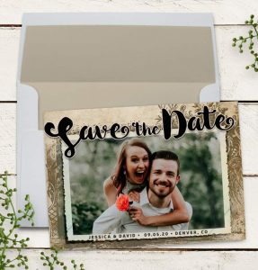 Rustic Vintage Save the Date Announcement Card ♥ designed by Webgrrl