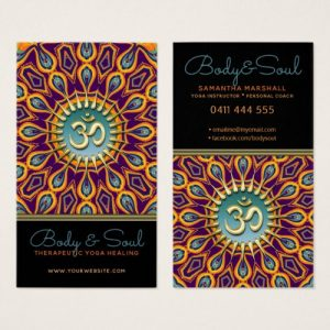 Violet Orange Teal Mandala Energy Yoga Om New Age Business Card by onlinecards