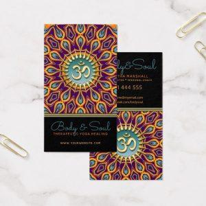 Violet Orange Teal Mandala Energy Yoga Om New Age Business Card by onlinecards