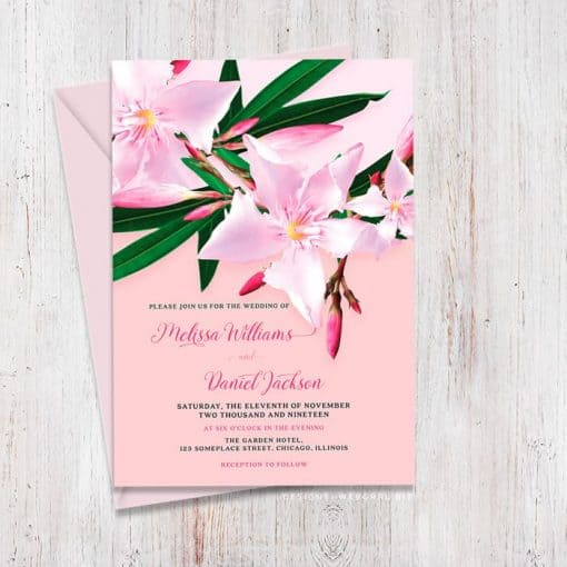 Pink and Green Wedding | Oleander Flower Invitation Card