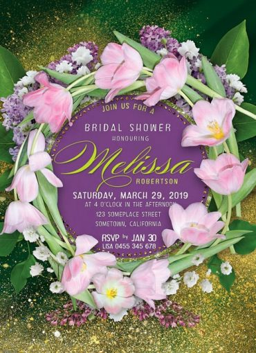 Green and Purple Bridal Shower Invitation