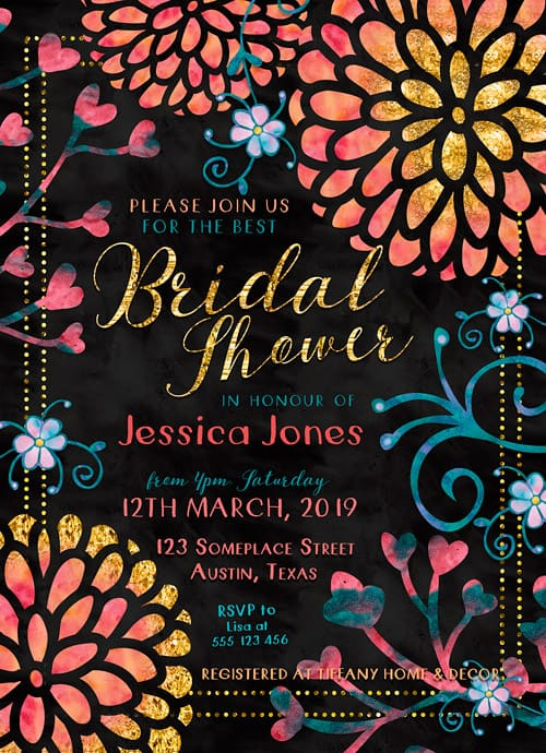Invitation card | Colorful watercolor flowers. Bright pinks, orange and teal blue colors with a splash of gold glitter