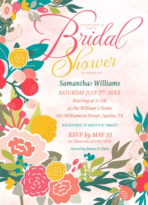 Woodlands Flowers Bridal Shower • Watercolor Wildflowers invitations • Customized for free to suit your event.