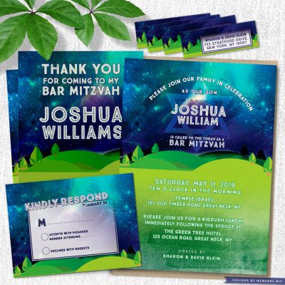 Great Outdoors Under the Stars Bar Mitzvah Invitation Suite