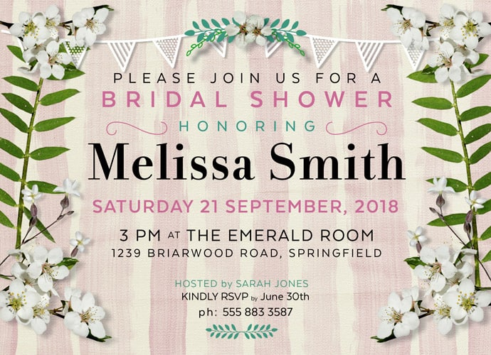White Floral Bridal Shower Invitations