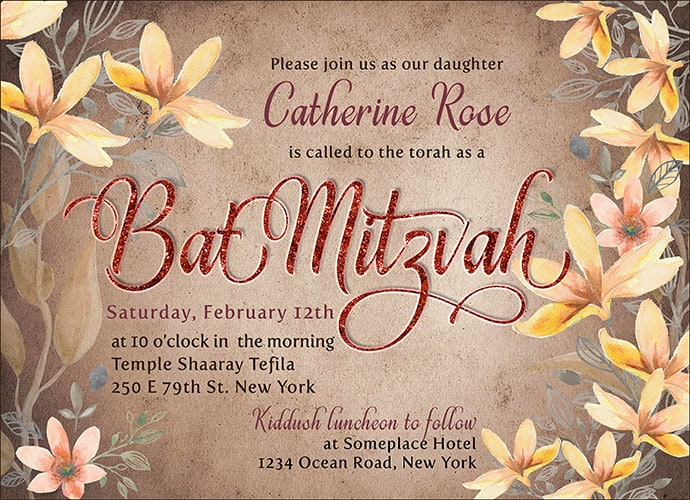 Floral watercolor style with rustic vintage tone background | Custom Invitation Card design