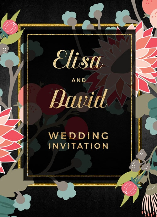 Bold wildflowers with gold elements on black background invitation design