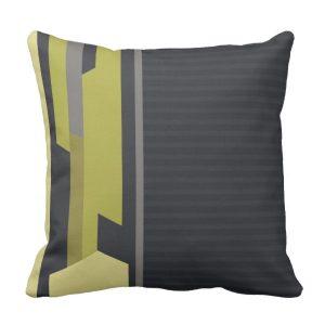 Modern Style Charcoal Pinstripe Green Cushions by webgrrl