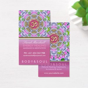 OM Yoga Energy Healing Pink Sparkle Business Cards